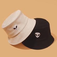 2 piezas sombrero cubo de hombres con bordado de extraterrestre