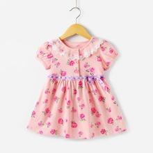 Toddler Girls Contrast Lace Tape Waist Rose Print Dress