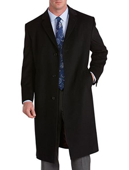Mens Extra Long Outerwear Coat Available in Black and Charcoal