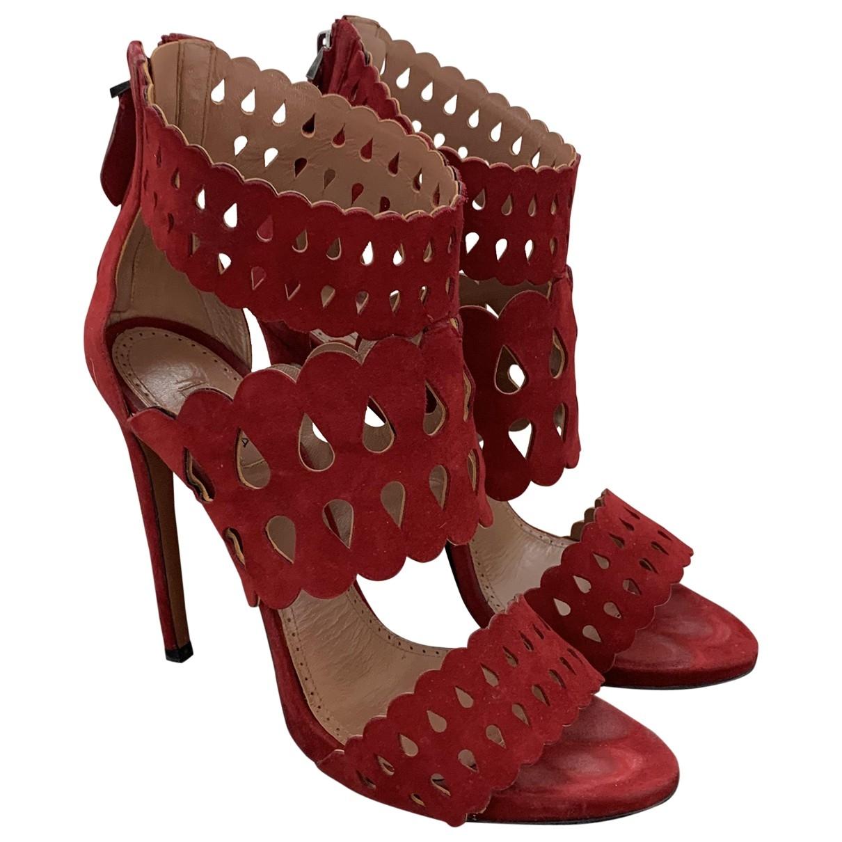 Alaia - Sandales   pour femme en suede - rouge