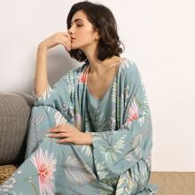 3pack Floral Print Cami PJ Set & Robe