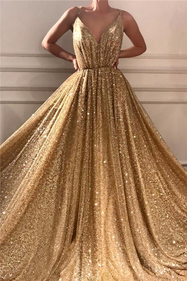 Glamourose Pailletten Spaghetti-Traeger Langes Abendkleid | Sparkle V-Ausschnitt aermelloses Gold Abendkleid