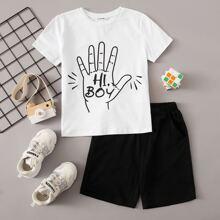 Top mit Buchstaben und Haenden Muster & Shorts Set