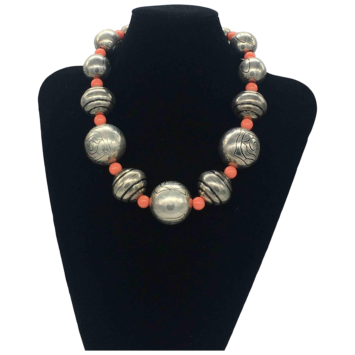 Non Signé / Unsigned \N Orange Metal necklace for Women \N