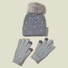 1pc Fluffy Pom Pom Decor Beanie & 1pair Gloves