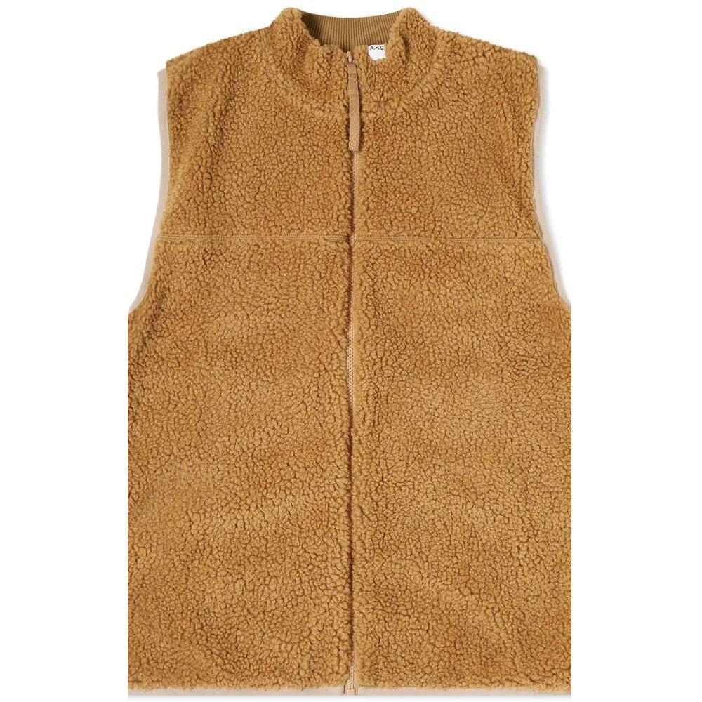 A.p.c Apc Cardigan Gilet Colour: CAMEL, Size: LARGE