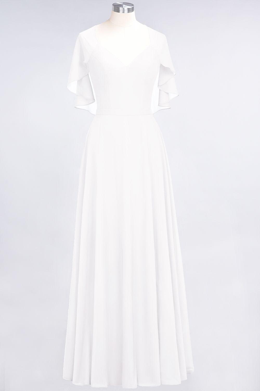 BMbridal Chic Satin V-Neck Long Burgundy Chiffon Bridesmaid Dress with Flutter Sleeve
