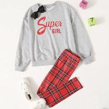 Conjunto pullover con estampado de letra con leggings de tartan