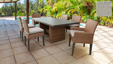 Laguna Collection LAGUNA-DTREC-KIT-4ADC2DCC-ASH Patio Dining Set With 1 Table  4 Side Chairs  2 Arm Chairs - Wheat and Ash