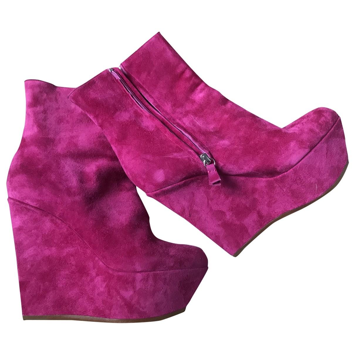 Casadei - Boots   pour femme en cuir - rose