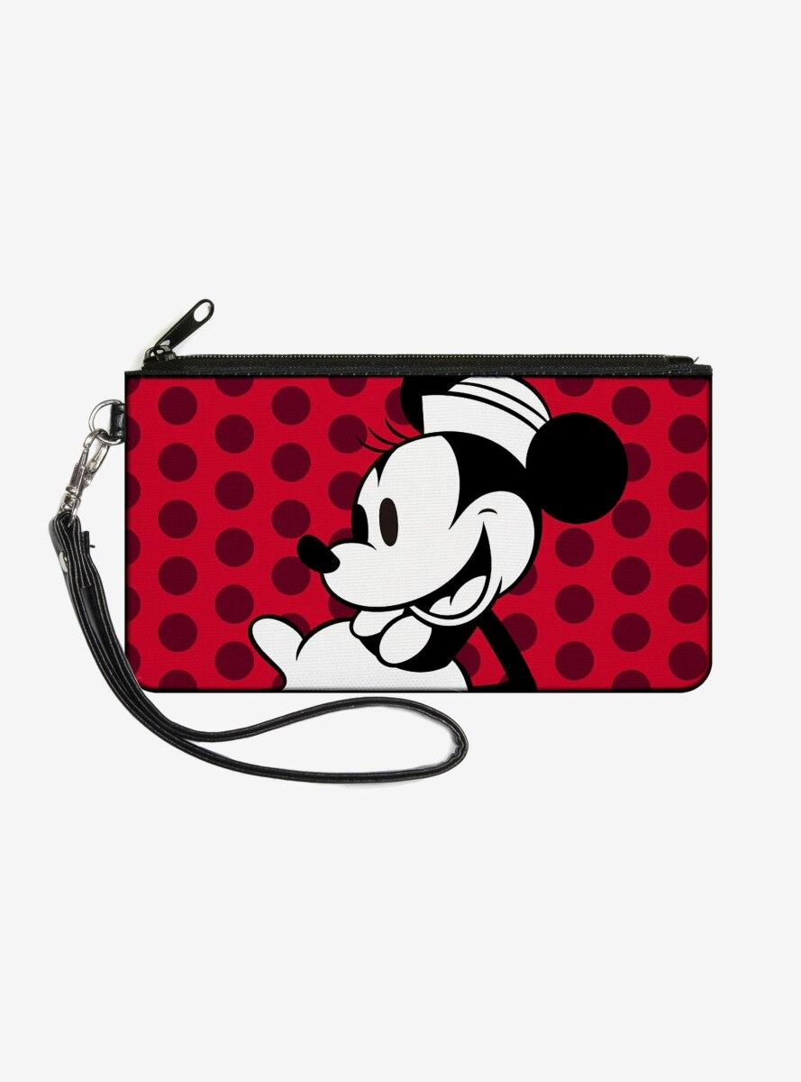 Disney Vintage Minnie Mouse Smiling Pose Close Up Dots Wallet Canvas Zip Clutch