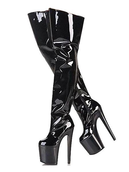 Milanoo Sexy High Heel Boots Round Toe Platform Stiletto Heel Rave Club Black Thigh High Boots Stripper Shoes