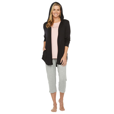 Ambrielle Womens French Terry Pajama Top Hooded Neck, Large , Black