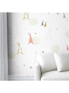 Rabbits and Five-pointed Stars Durable Waterproof and Eco-friendly 3D Wall Mural