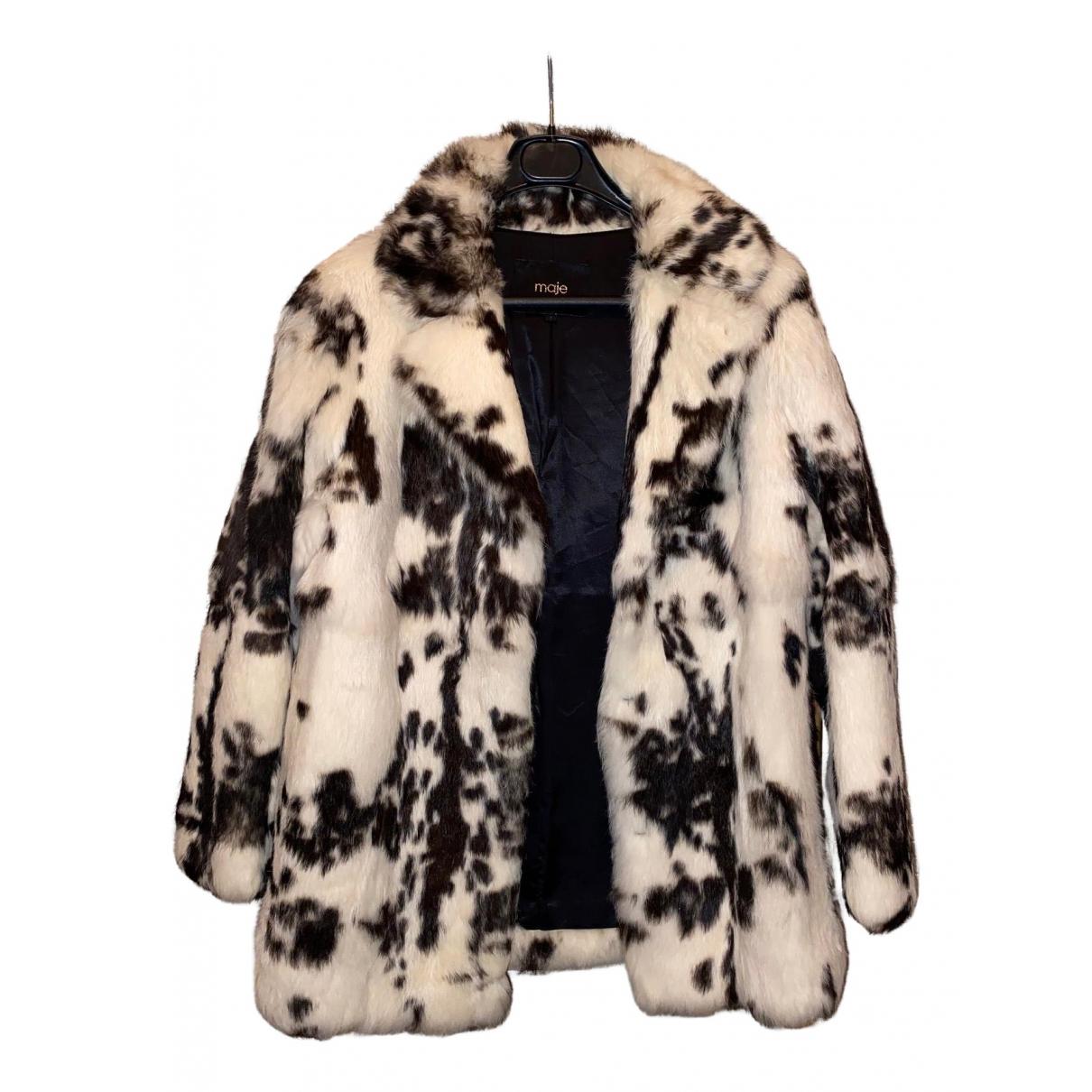 Maje - Manteau   pour femme en lapin - blanc