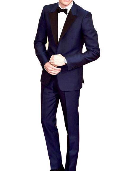 Men's Navy Peak Lapel Single Breasted 1 Button Slim Fit Tuxedo