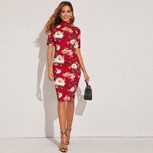 Kleid mit Stekragen und Blumen Muster