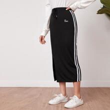 Drawstring Waist Embroidery Letter Striped Side Split Hem Skirt