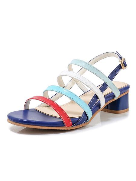 Milanoo Sandalias de tacon de bloque Mujer Sandalias de tacon grueso con punta abierta Zapatos de sandalia con tiras