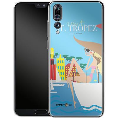 Huawei P20 Pro Silikon Handyhuelle - ST TROPEZ TRAVEL POSTER von IRMA
