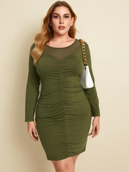 YOINS Plus Size Round Neck Pleated Design Long Sleeves Mini Dress