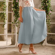Elastic Waist Solid Pleated Skirt