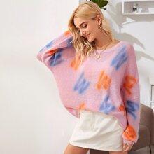 Letter Graphic Drop Shoulder Oversized Sweater
