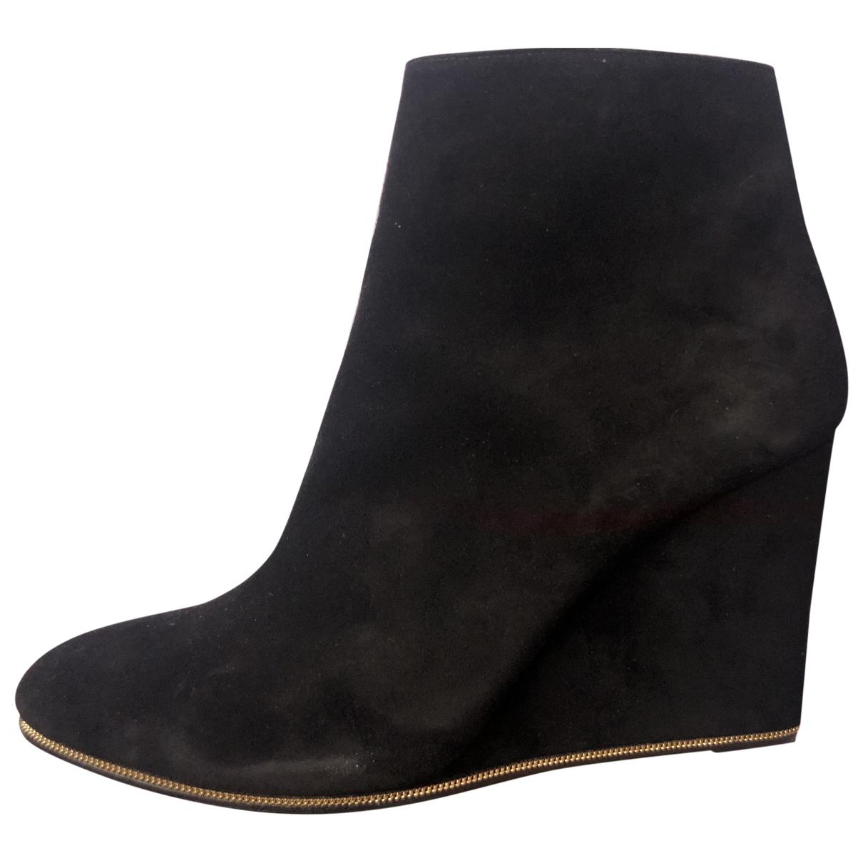 Salvatore Ferragamo \N Black Suede Ankle boots for Women 8.5 US