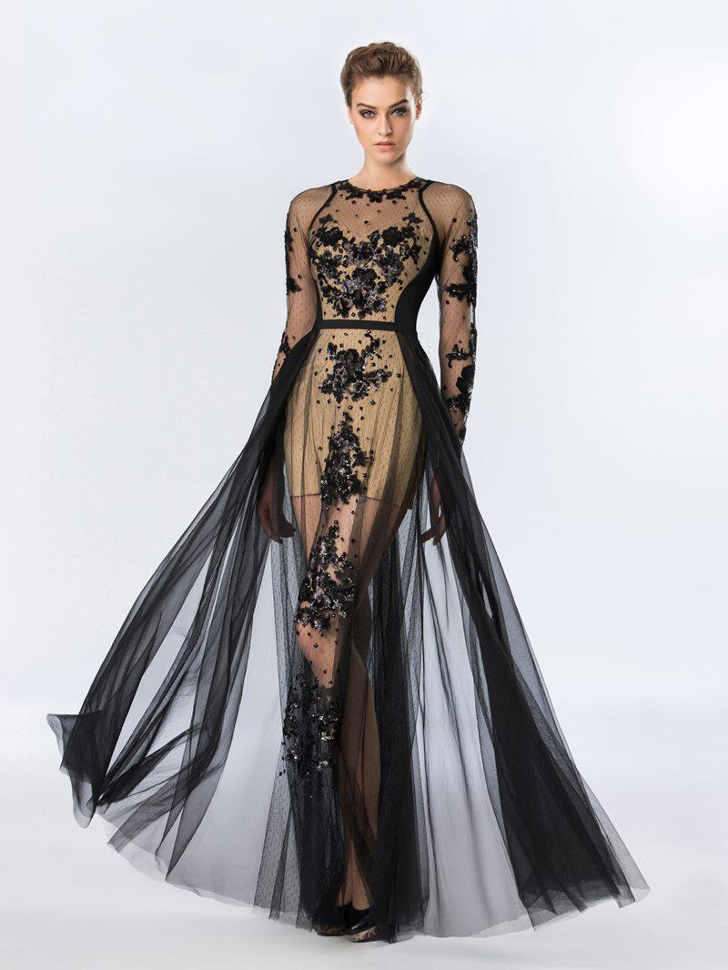 Ericdress Sequins Appliques Long Sleeves Halloween Evening Dress