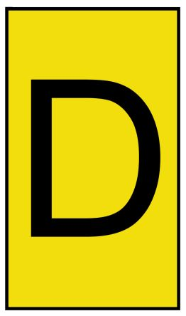 HellermannTyton Ovalgrip Slide On Cable Marker, Pre-printed D Black on Yellow 1.7 → 3.6mm Dia. Range