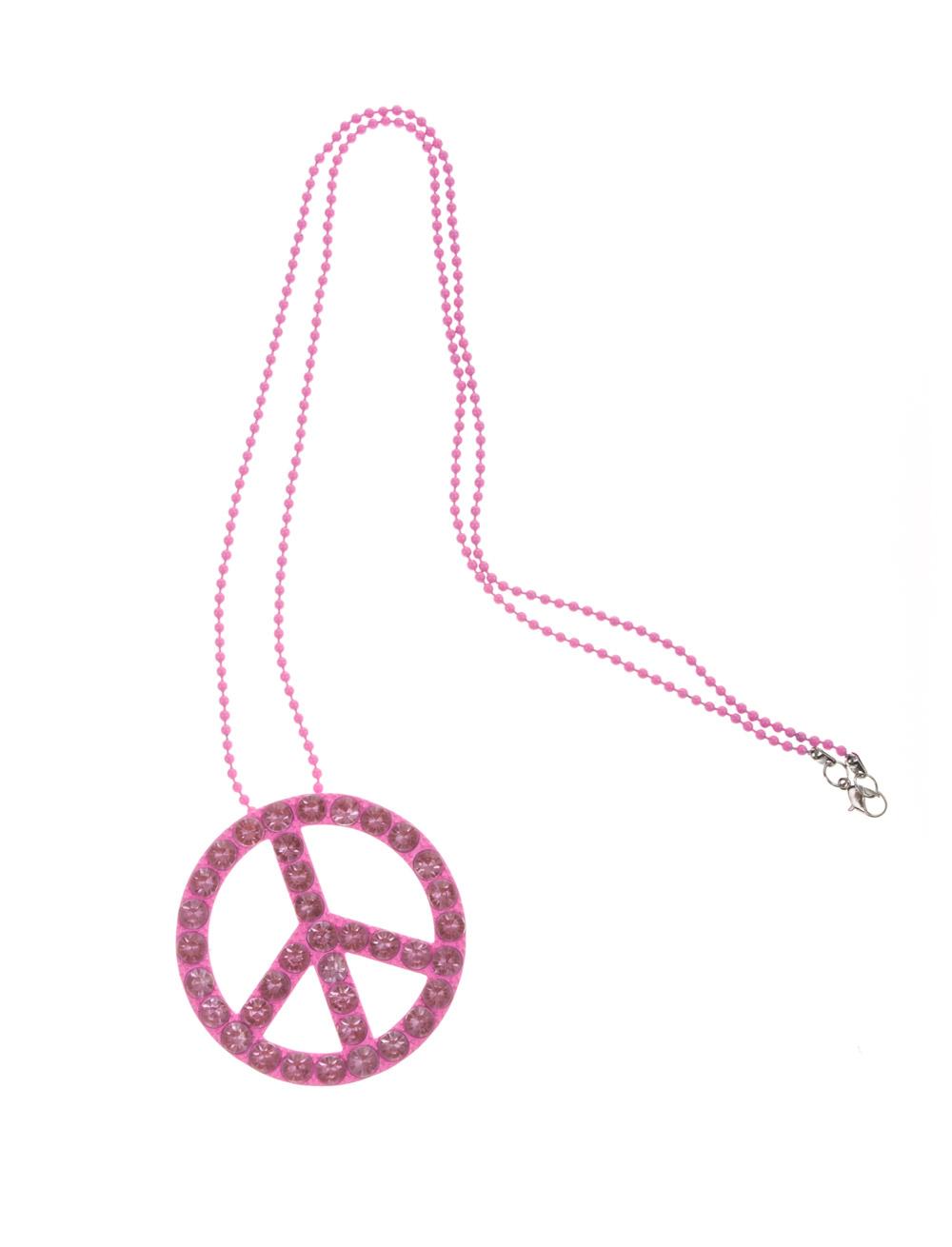 Kostuemzubehor Halskette Peace mit Strass pink