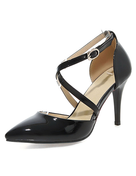 Milanoo Apricot High Heels Pointed Toe Criss-Cross Women's Solid Color Pumps