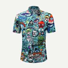 Men Allover Cartoon Shirt