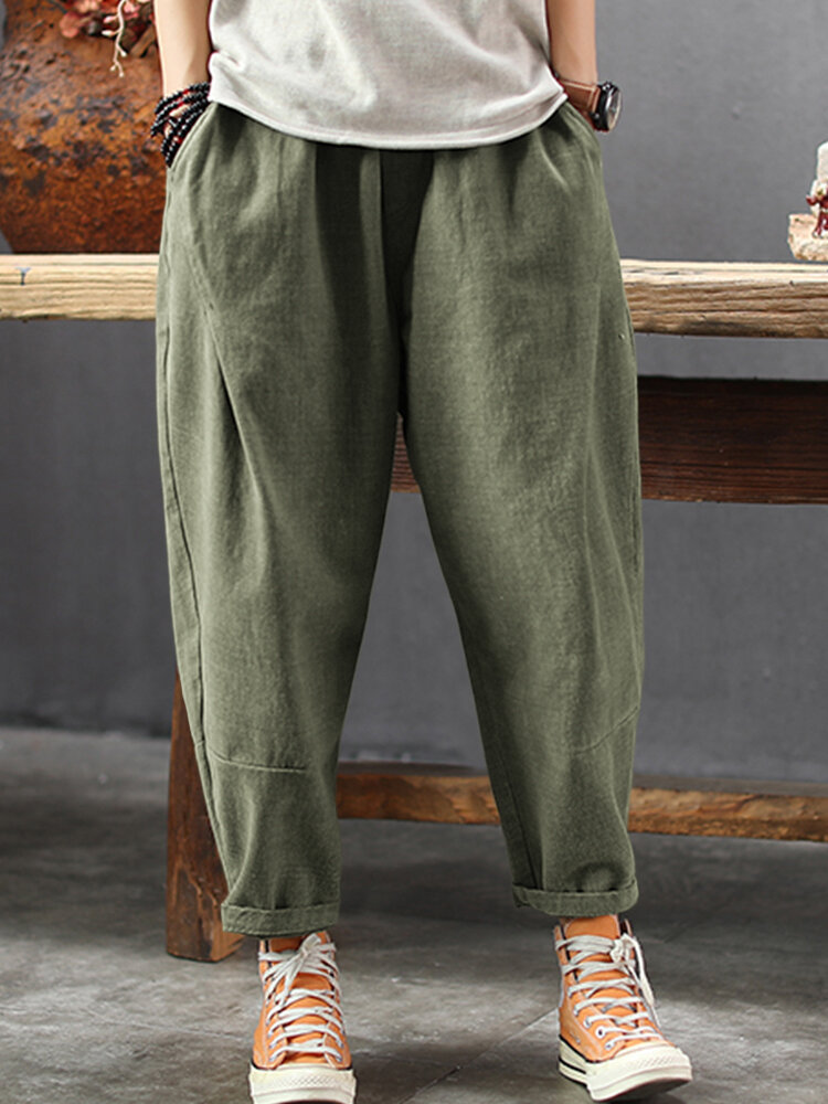 Casual Loose Pockets Plus Size Pants for Women