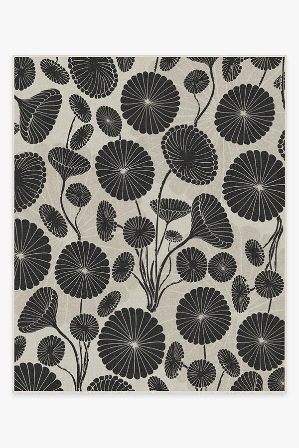 Washable Rug Cover & Pad | Cynthia Rowley Pompom Black & White Rug | Stain-Resistant | Ruggable | 8x10