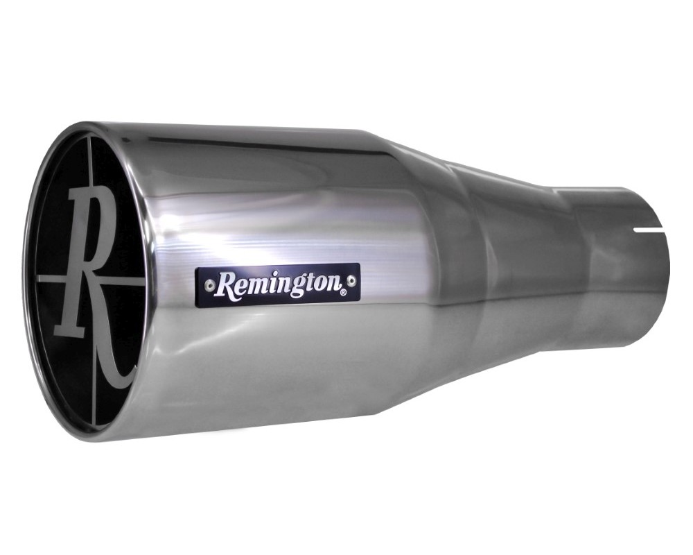 Remington Single 5 Inch Inlet 8 Inch Outlet Remington Edition Scope Polished Exhaust Tip