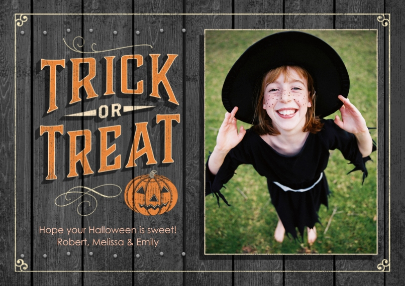 Halloween Photo Cards 5x7 Cards, Premium Cardstock 120lb with Rounded Corners, Card & Stationery -Trick or Treat Jack O'Lantern by Hallmark
