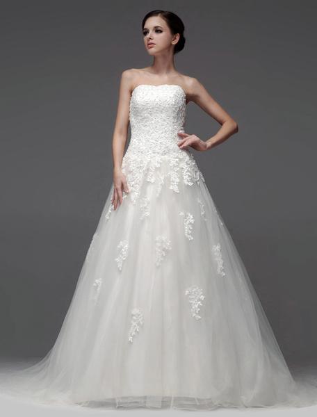 Milanoo Vestido de novia de tul de color marfil de cola larga