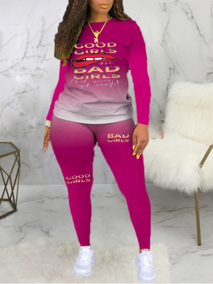 LW Lovely Casual Gradient Lip Print Rose Red Plus Size Two-piece Pants Set