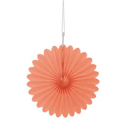 Solid Tissue Paper Fans for Party Decoration 6'' 3Pcs - Coral