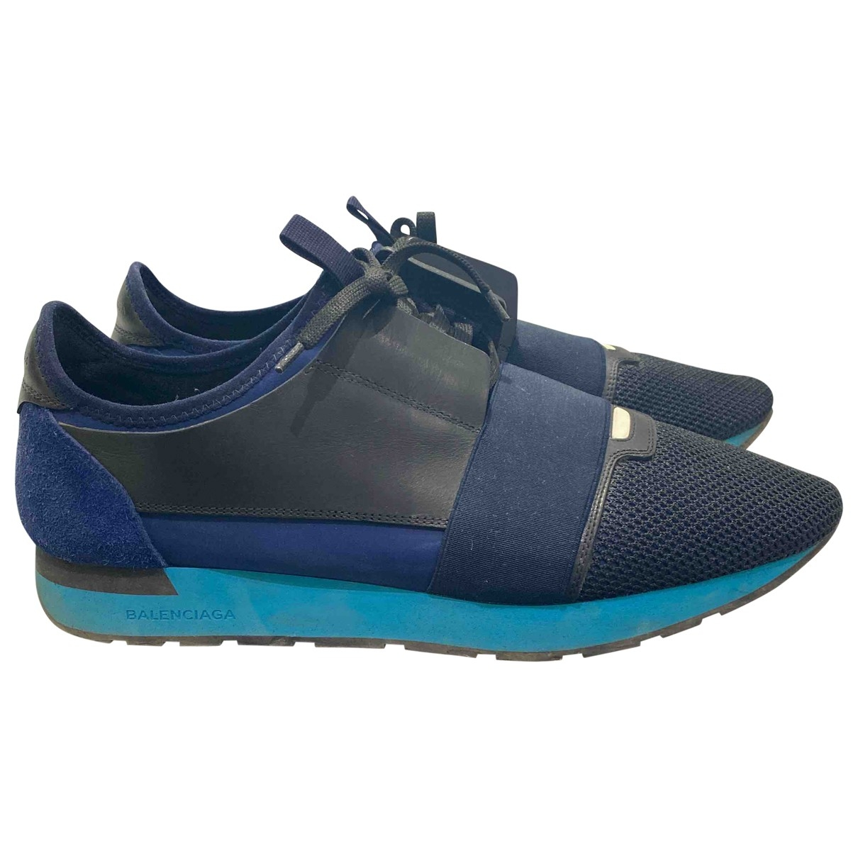 Balenciaga Race Sneakers in  Blau Veloursleder