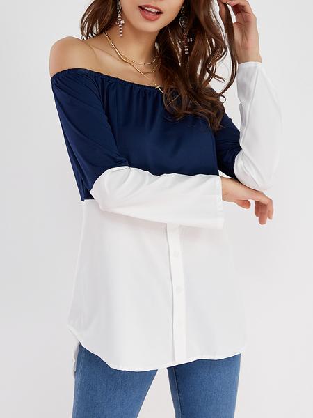 Yoins Navy & White Off Shoulder Long Sleeves T-shirt