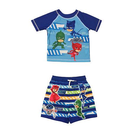 PJ Mask- Toddler Rash Guard Set, 2t , Blue