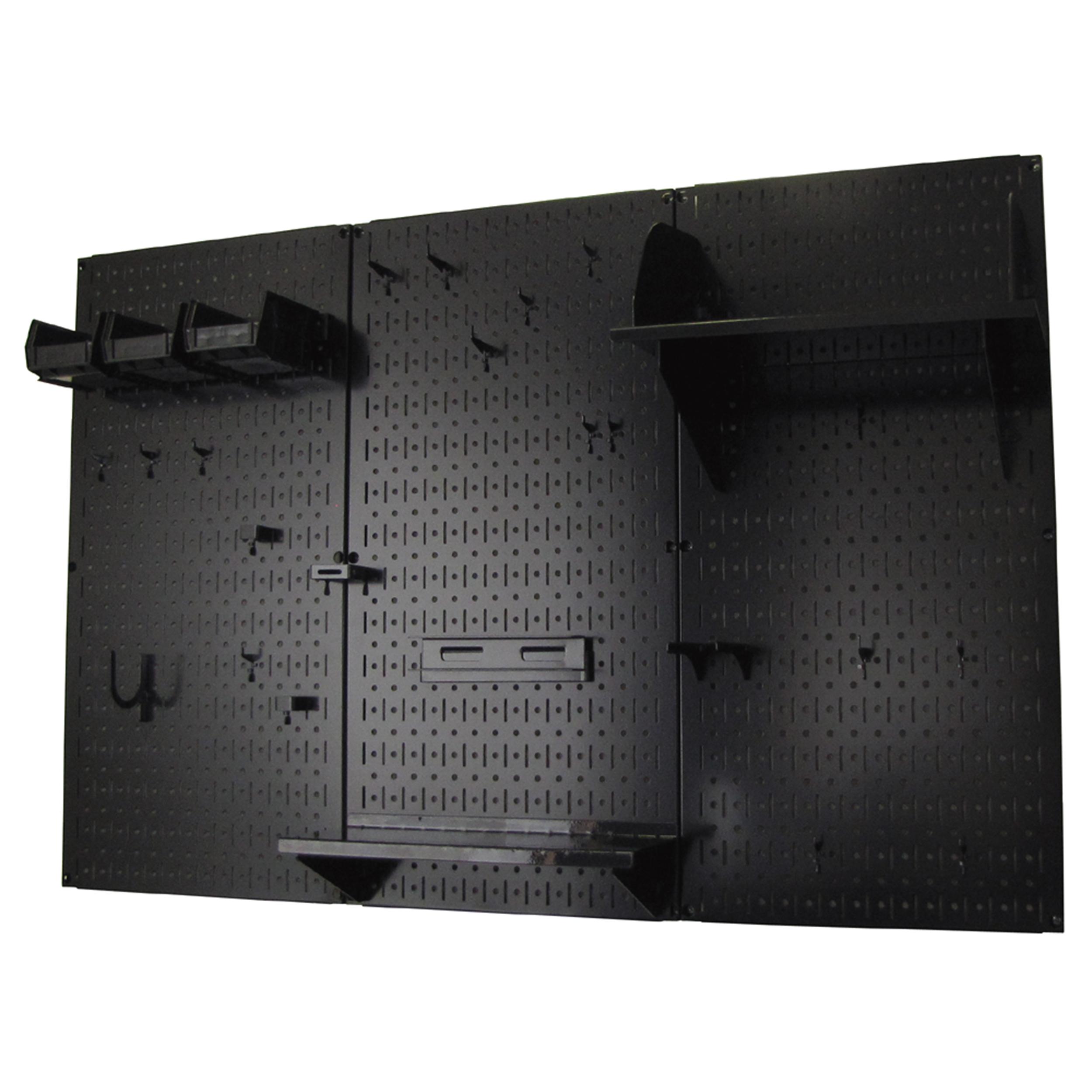 4' Metal Pegboard Standard Tool Storage Kit - Black Toolboard & Black Accessories