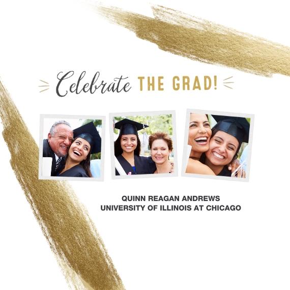Graduation Framed Canvas Print, Black, 12x12, Home Décor -Celebrate The Grad Gold Brush