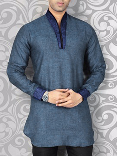 Yoins INCERUN Men Kurta Shirt Long Sleeve Casual Splicing V-neck Shirt
