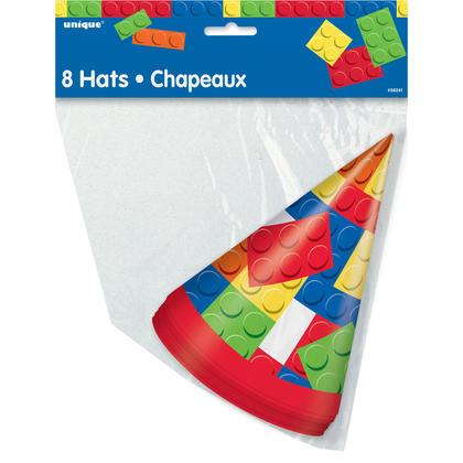 Building Blocks Birthday Party Hats, 8ct Pour la fête d'anniversaire