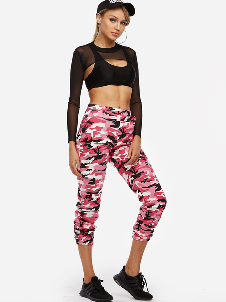 Yoins Active Camo Pattern High Waisted Sports Pants in Red