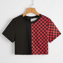 Crop T-Shirt mit Karo Muster und Farbblock