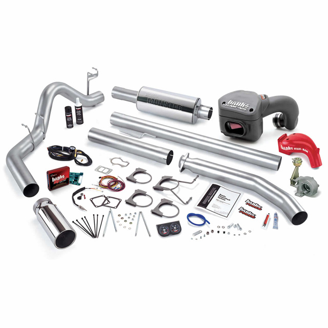 PowerPack Bundle Complete Power System W/Single Exit Exhaust Chrome Tip 01 Dodge 5.9L Extended Cab 235hp Banks Power 49393